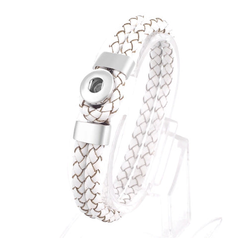 White Leather Mini Snap Bracelet
