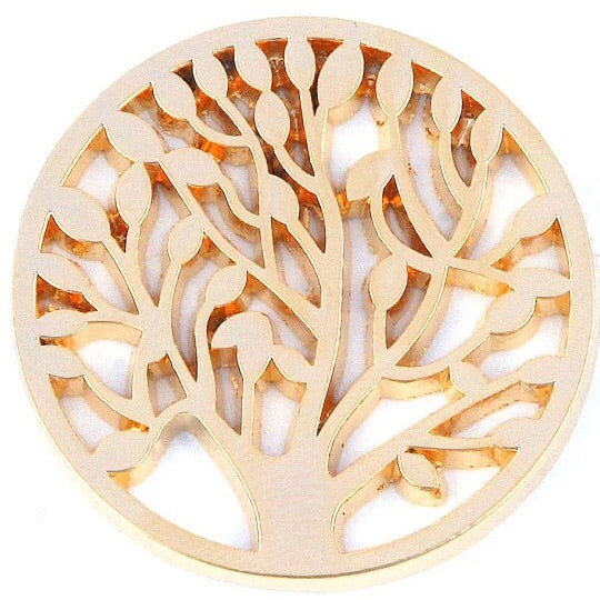 Gold Leafy Tree Coin - Gracie Roze Yourself Expression Snap Jewelry