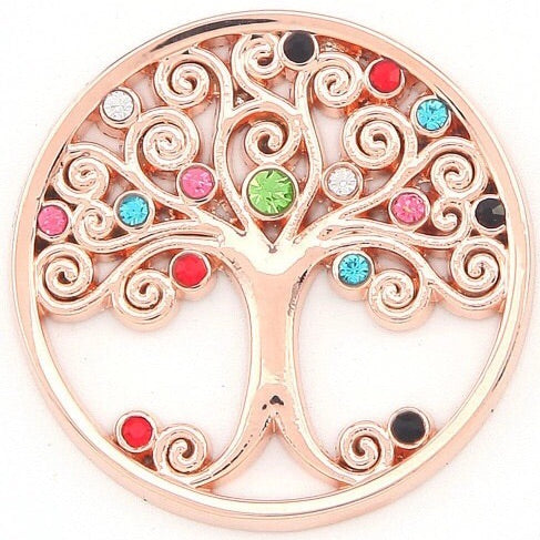 Rose Gold Multi Crystal Tree Coin - Gracie Roze