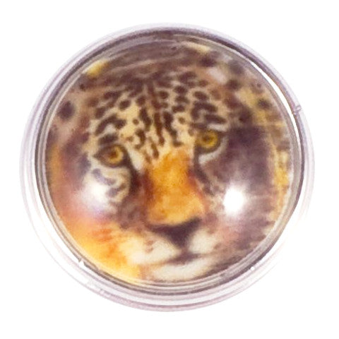 Brown Leopard Yellow Eyes Snap - Gracie Roze Yourself Expression Snap Jewelry
