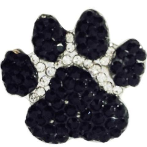 Large Black Crystal Paw Popper for Snap Jewelry