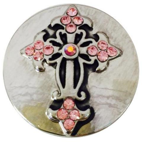 Pink Crystal Cross Snap - Gracie Roze