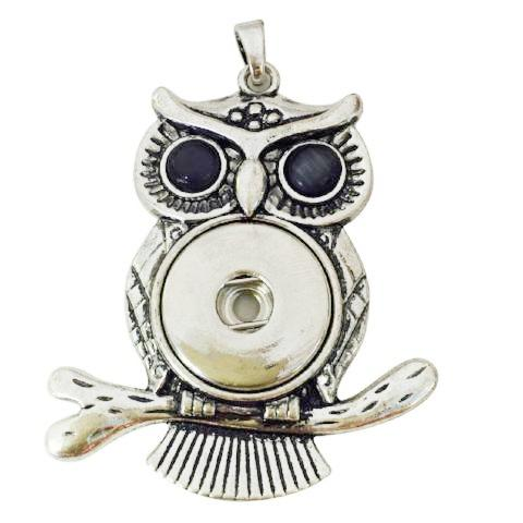 Owl on a Branch Snap Necklace - Gracie Roze