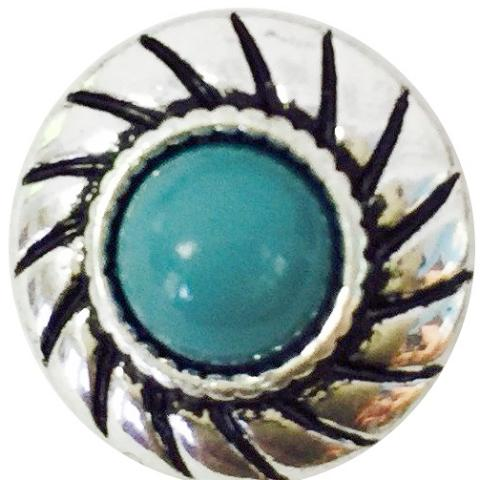 Turquoise Braided Silver Mini snap
