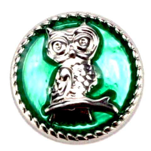 Green Owl Mini Snap - Gracie Roze Yourself Expression Snap Jewelry