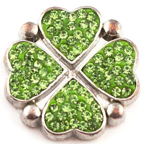 Green Crystal 4 Heart  Snap
