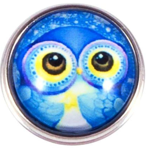 Big Eye Blue Owl Popper for Snap Jewelry