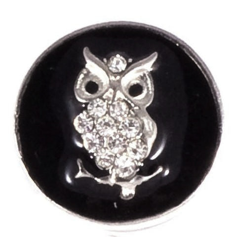 Black Metal Crystal Owl Snap - Gracie Roze Yourself Expression Snap Jewelry