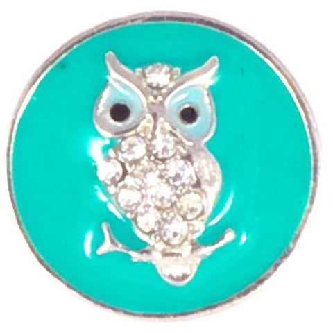 Teal Metal Crystal Owl snap