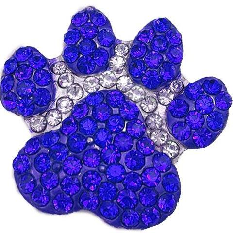 Large Blue Crystal Paw Popper for Snap Jewelry