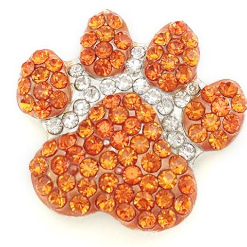 Large Orange Crystal Paw Popper for Snap Jewelry