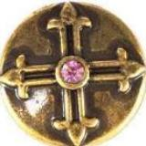 Bronze Cross with Pink Stone Snap