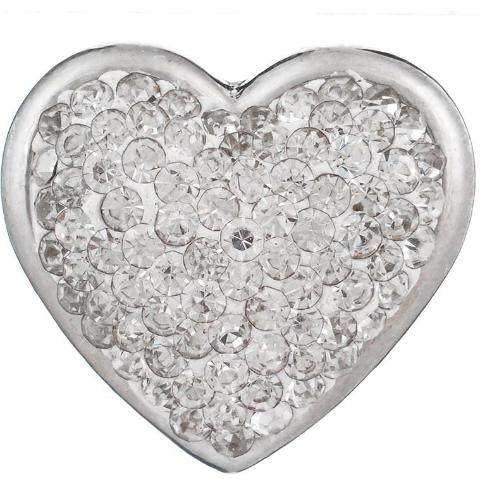 Full White Crystal Heart Snap