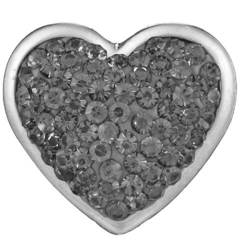 Grey Crystal Heart Snap