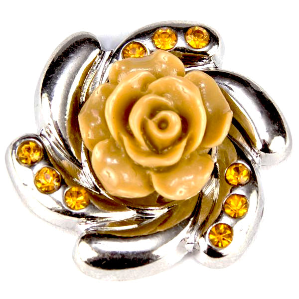 Resin Flower Tan Crystal Popper