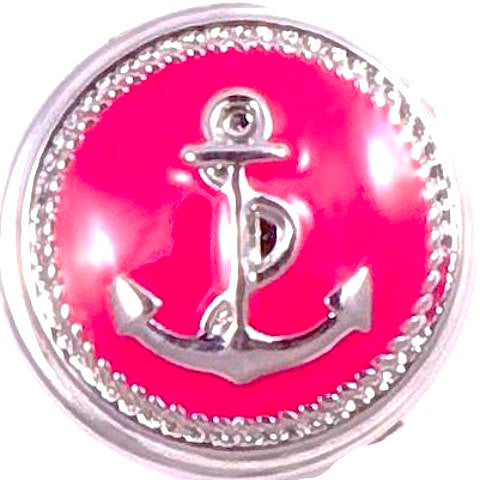 Pink Metal Anchor Snap - Gracie Roze Yourself Expression Snap Jewelry