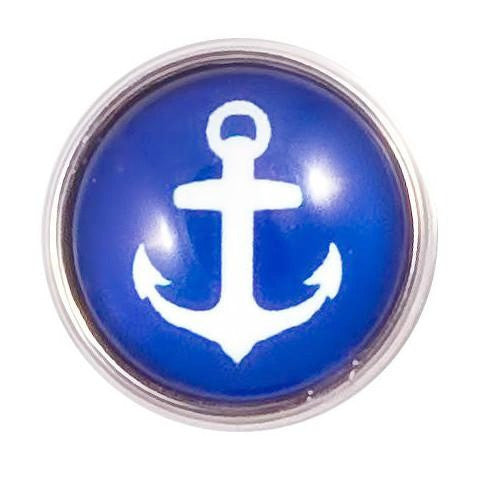 Blue and White Anchor Snap - Gracie Roze Yourself Expression Snap Jewelry