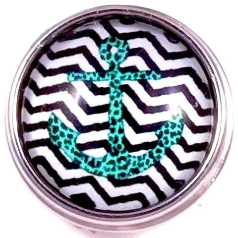 Teal and Black Anchor Snap - Gracie Roze Yourself Expression Snap Jewelry