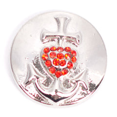 Anchor Red Heart Popper for Snap Jewelry