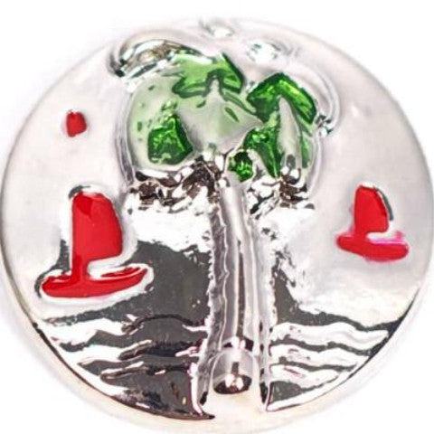 Palm Tree and Red Sailboat Snap - Gracie Roze Yourself Expression Snap Jewelry