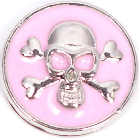 Skull and Bones Pink Metal Snap - Gracie Roze Yourself Expression Snap Jewelry
