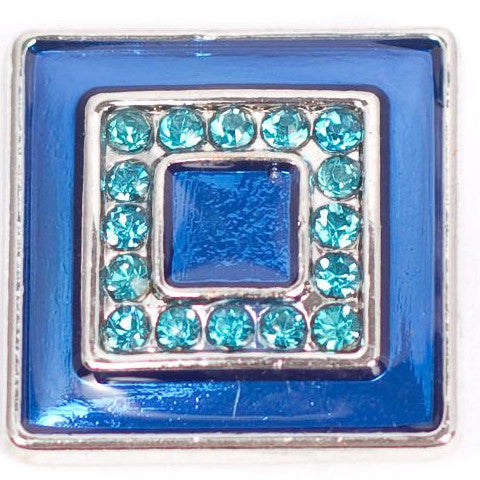 Square Blue Crystal Snap - Gracie Roze