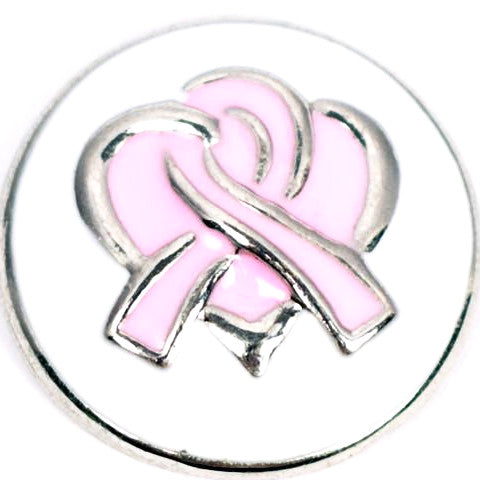 Breast Cancer Metal Ribbon Snap - Gracie Roze Yourself Expression Snap Jewelry