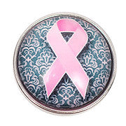 Pink and Grey Breast Cancer Snap - Gracie Roze Yourself Expression Snap Jewelry