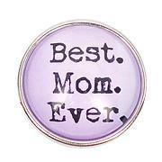 Best Mom Ever Purple Popper for Snap Jewelry