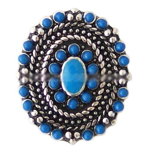 Blue Oval Vintage Beaded Snap