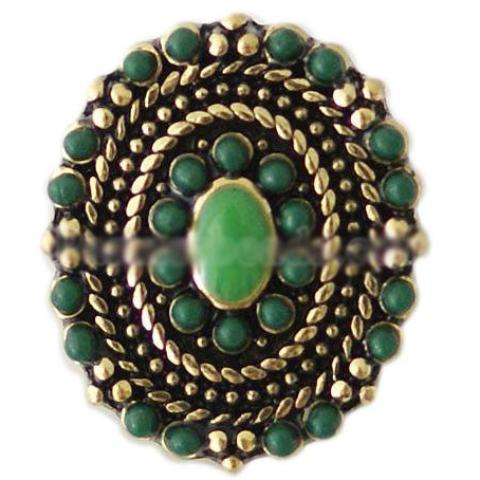 Green Oval Vintage Stone Snap