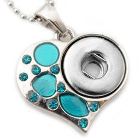 Teal Heart Mini Snap Necklace - Gracie Roze