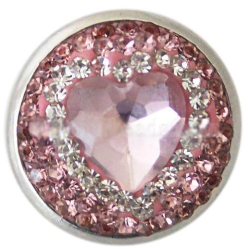 Soft Pink and White Crystal Heart Snap