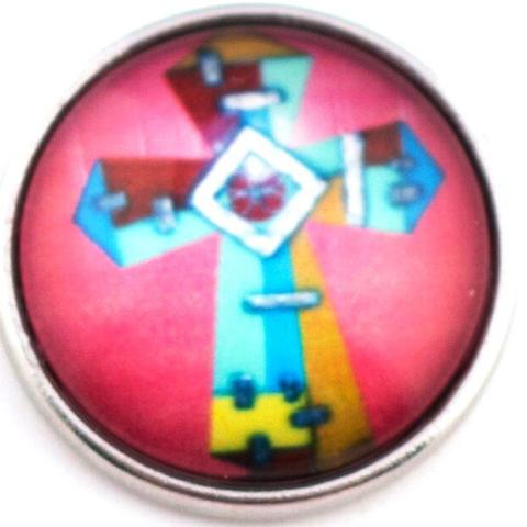 Stained Glass Cross Snap - Gracie Roze Yourself Expression Snap Jewelry