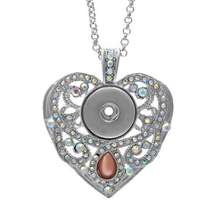 * Bejeweled Trendy Heart Snap Jewelry Necklace