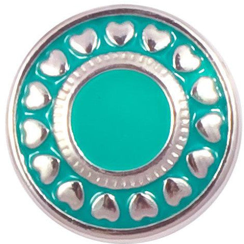 Teal Circle of Hearts Metal Snap - Gracie Roze