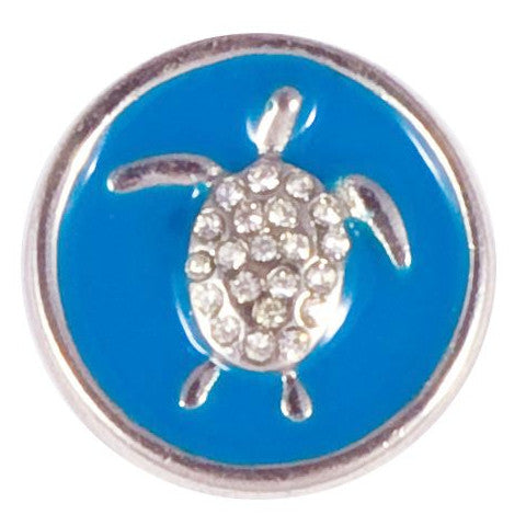 Blue Metal Turtle Snap - Gracie Roze Yourself Expression Snap Jewelry