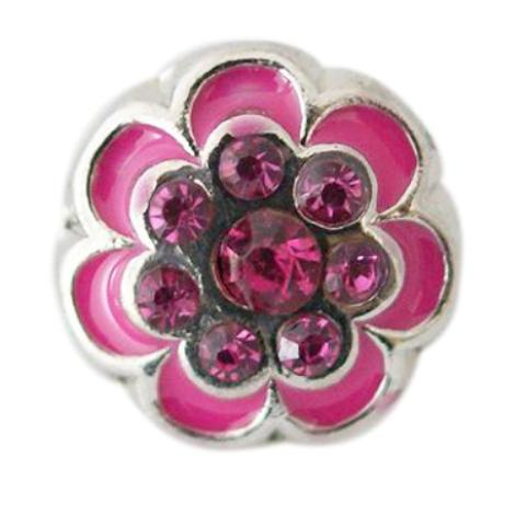 Groovy Pink Flower Mini Snap - Gracie Roze Yourself Expression Snap Jewelry