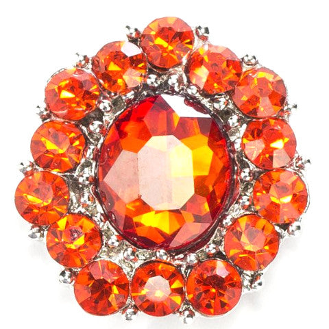 Estate Cluster Orange Crystal Snap - Gracie Roze Yourself Expression Snap Jewelry