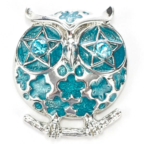 Owl Blue on a Branch Snap - Gracie Roze Yourself Expression Snap Jewelry