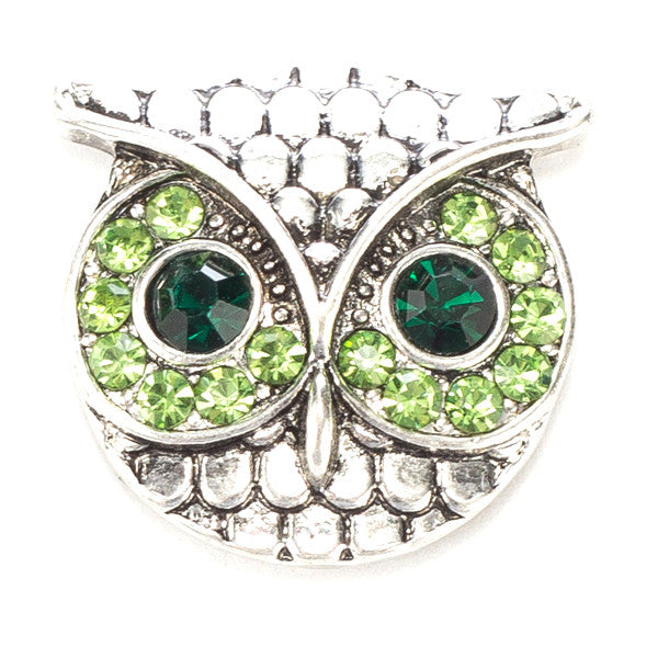 Owl with Big Green Eyes Metal Snap
