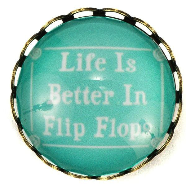 Life is Better in Flip Flops Snap - Gracie Roze Yourself Expression Snap Jewelry