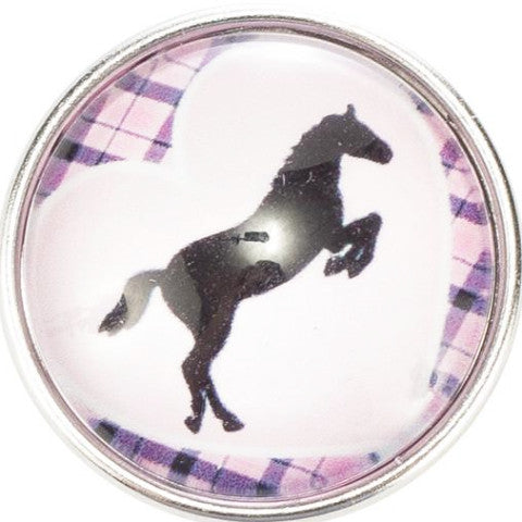 Plaid Pink Horse Snap - Gracie Roze Yourself Expression Snap Jewelry