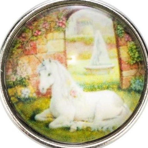 Unicorn Sitting in the Garden Snap - Gracie Roze Yourself Expression Snap Jewelry
