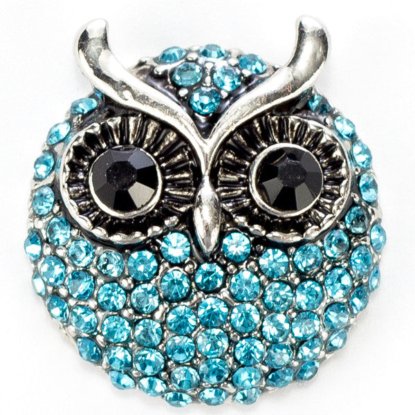Owl Blue Round Crystal Snap