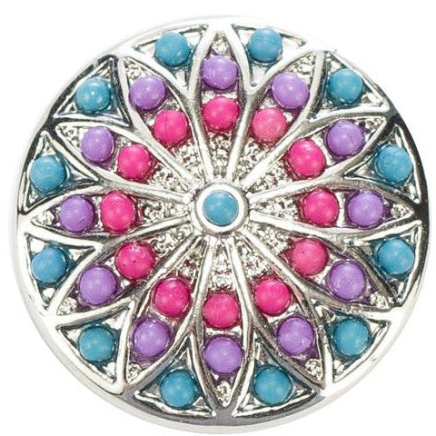 Pink and Purple Shield Snap - Gracie Roze Yourself Expression Snap Jewelry
