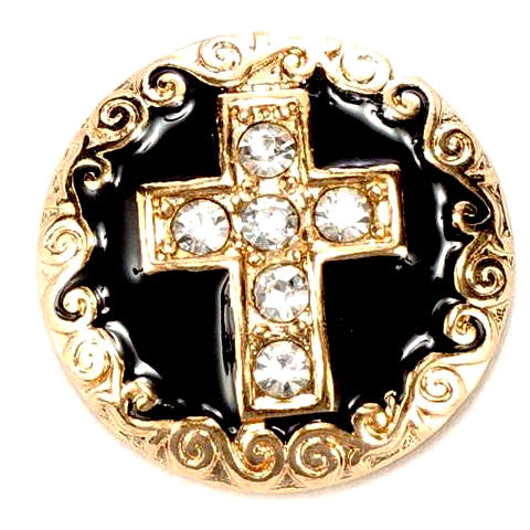 Gold Cross with Crystals Snap