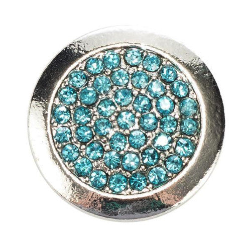 Silver Ring with Blue Crystals Snap