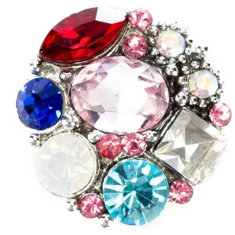 Red and Blue Hepburn Snap - Gracie Roze Yourself Expression Snap Jewelry