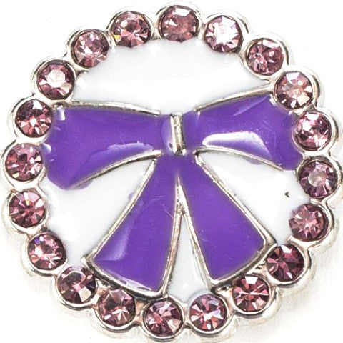 Purple Bow Crystal Snap - Gracie Roze Yourself Expression Snap Jewelry